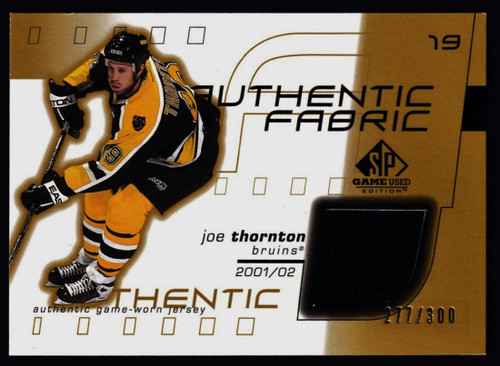 2002 SP Game Used Joe Thornton Jersey #217/300 EXMT