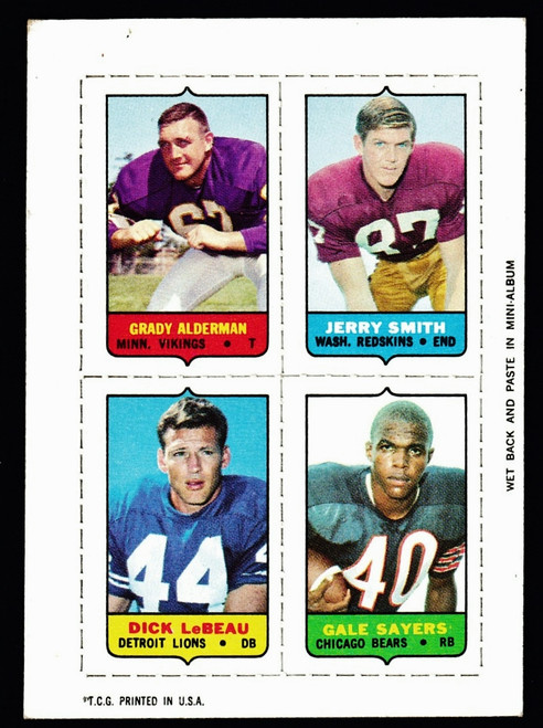 1969 Topps 4 in 1 Alderman Smith LeBeau Sayers VGEX