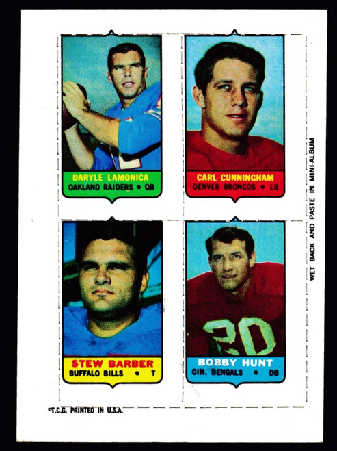 1969 Topps 4 in 1 Lamonica Cunningham Barber Hunt VG