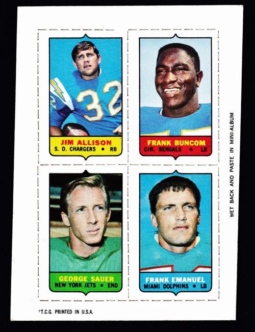 1969 Topps 4 in 1 Allison Buncom Sauer Emanuel VGEX