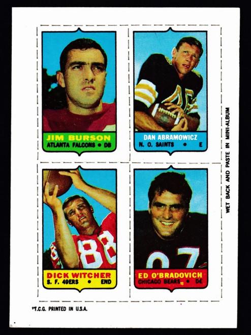 1969 Topps 4 in 1 Burson Abramowicz Witcher O'Bradovich EX+