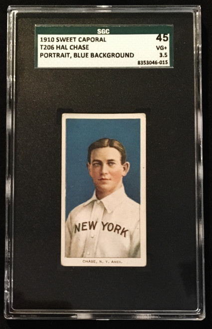 1909-1911 T206 Hal Chase Portrait Blue Background Sweet Caporal SGC 3.5