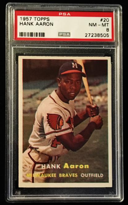 1957 Topps #020 Hank Aaron PSA 8