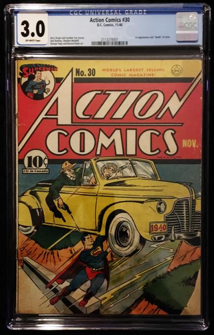 1940 DC Action Comics #30 CGC 3.0