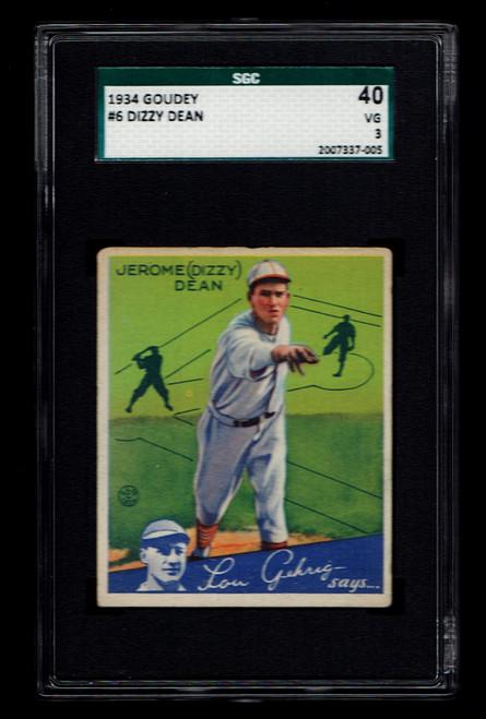 1934 Goudey #6 Dizzy Dean SGC 3