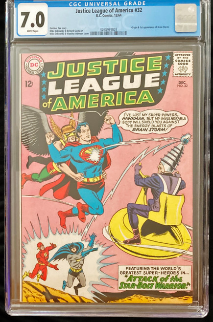 1964 DC Justice League of America #32 CGC 7.0 1st Appearance Brain Storm
