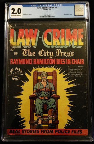 1948 Essenkay Law Against Crime #1 CGC 2.0