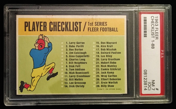1963 Fleer Unmarked Checklist PSA 7 OC