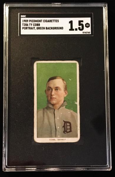 1909-1911 T206 Ty Cobb Green Portrait SGC 1.5 Piedmont