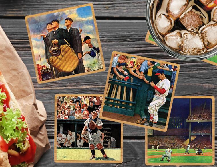 Saturday Evening Post: Baseball Coaster Set w/ Base