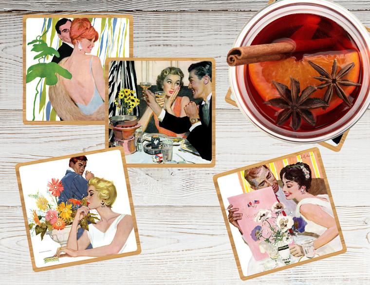 Saturday Evening Post: Romance Coaster Set w/ Base