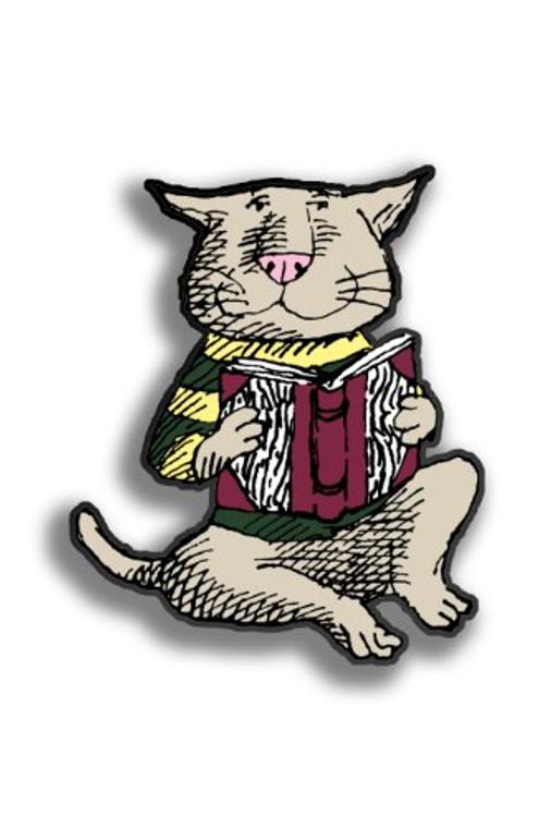 Edward Gorey:  Cat & Book Pin