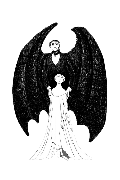Edward Gorey Dracula & Lucy Pinch Button