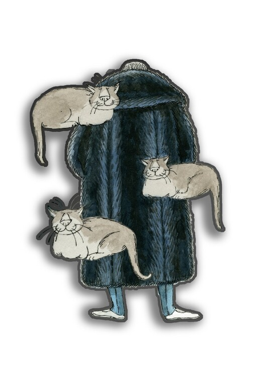 Edward Gorey & Floating Cats Pinch Button