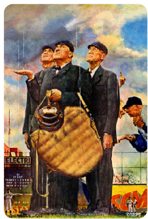 Saturday Evening Post- Umpires in the Rain Wood Magnet