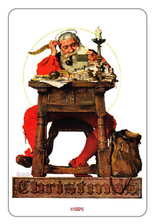 Saturday Evening Post- Santa at a Desk Wood Magnet