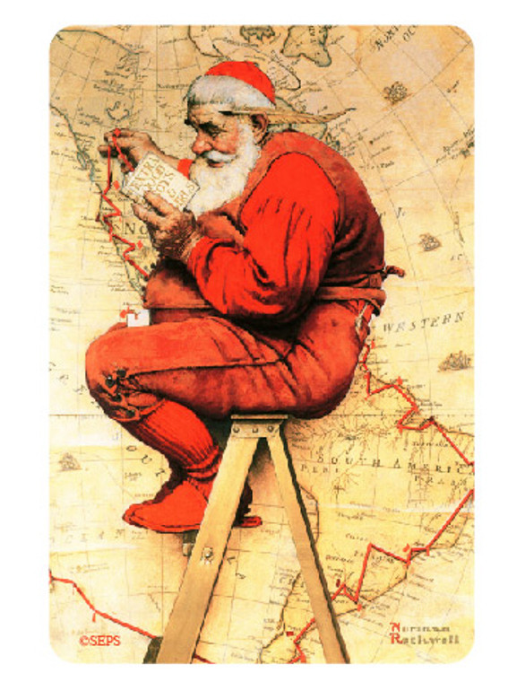 Saturday Evening Post- Santa on a stool Magnet
