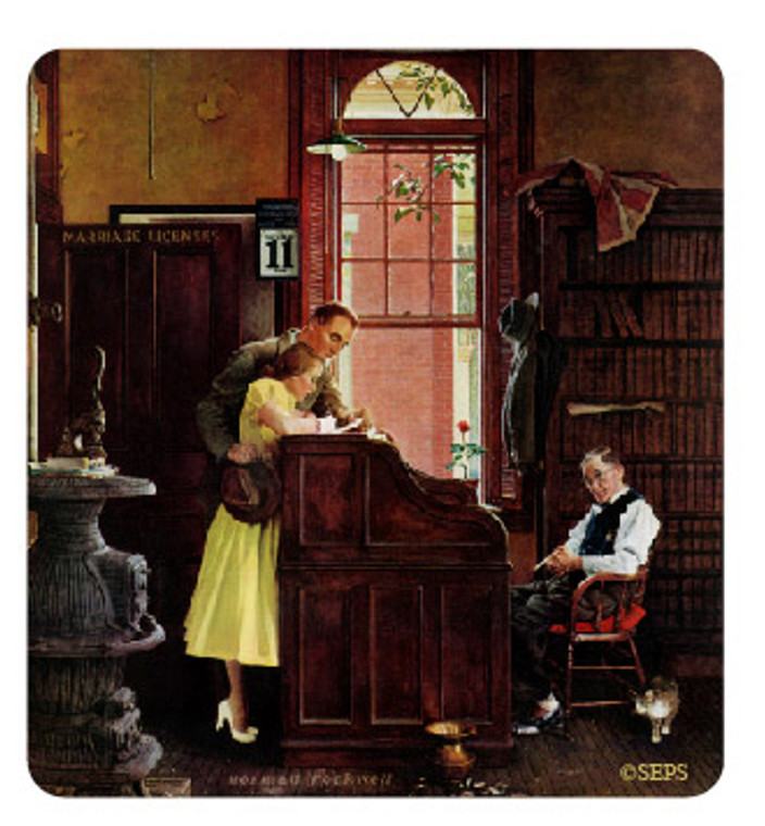 Saturday Evening Post-  At the Desk Wood Magnet