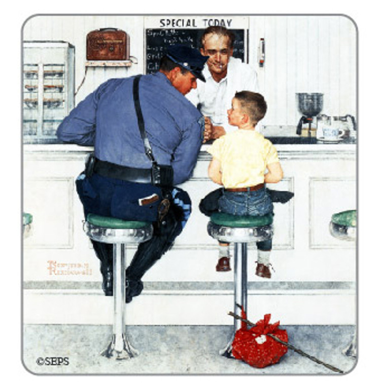 Saturday Evening Post-  Diner Conversation Wood Magnet