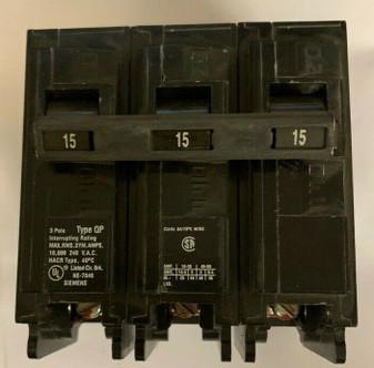Siemens 15 Amp Triple Pole 3 Pole Circuit Breaker TYPE QP QP240