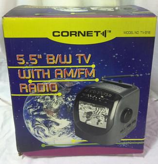 "Vintage Cornet Portable 5.5"" Black & White Television with AM / FM Radio *NEW*"