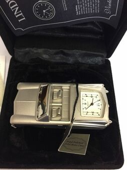 Linden Vintage Linden Clock CADILLAC Car Silver JAPAN MOVEMENT NEW SOLID BRASS