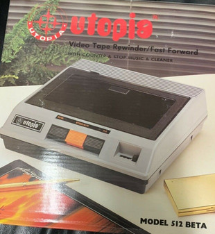 NEW UTOPIA 512 BETA Video Cassette Tape Rewinder Auto Stop Eject Fast CLEANER