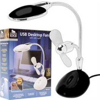 USB DESKTOP FAN LAMP with LED Light for PC and MAC - NEW IN BOX! FREE SHIPPING!