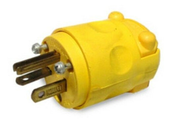 Leviton 010-615CV 2Pole 3Wire Yellow Round Connector (New!)