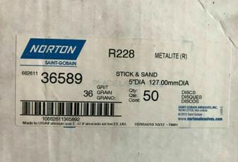 "Norton R228 Stick & Sand Cloth Discs 5"" Metalite, 36 Grit, 50 count, NEW 36589"