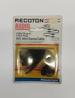 Recoton ACW337 2 Mini Plugs to 2 RCA Plugs 6Ft. Mini Stereo Cable (BRAND NEW!)