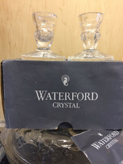 """Waterford Crystal 3.5"""" Candlestick Boxed PAIR Crystal Clear (BRAND NEW)"""