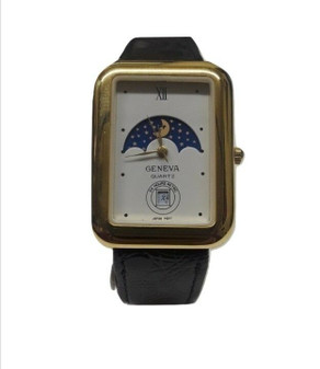 Vintage Geneva 24 Hours Retro Moonphase Wrist Watch w/Genuine Leather (New!)
