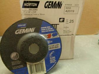 "Norton 4"" x 1/4"" x 5/8"" Gemini 42019 Depressed Center Grinding Wheels Box of 25"