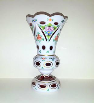 Bohemian Crystalex Decorative Vase HandMade Porcelain overlay Czech Republic NEW