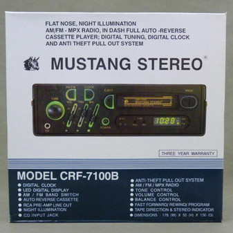 Vintage Mustang Pull Out Cassette Car Radio/Stereo w/ CD/Ipod/Iphone/MP3 Input