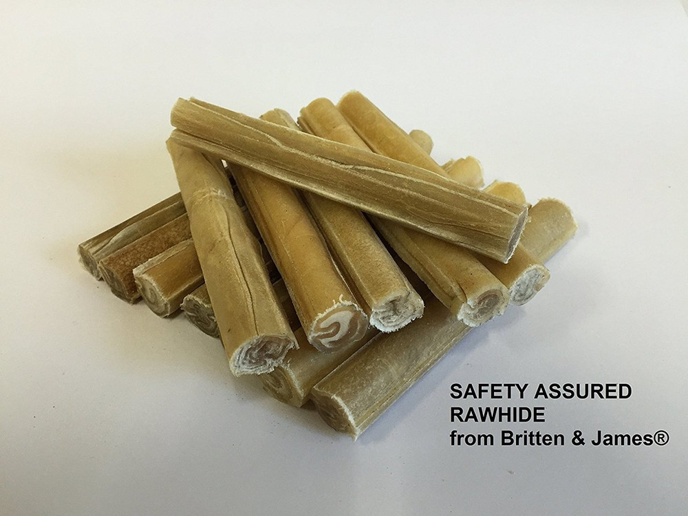 Safety Assured Natural Rawhide Cigar Chew Sticks for dogs MEDIUM. Pack of 50