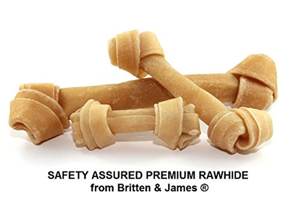 Safety Assured Natural Rawhide Knotted Bones for dogs. LARGE Pack of 5.