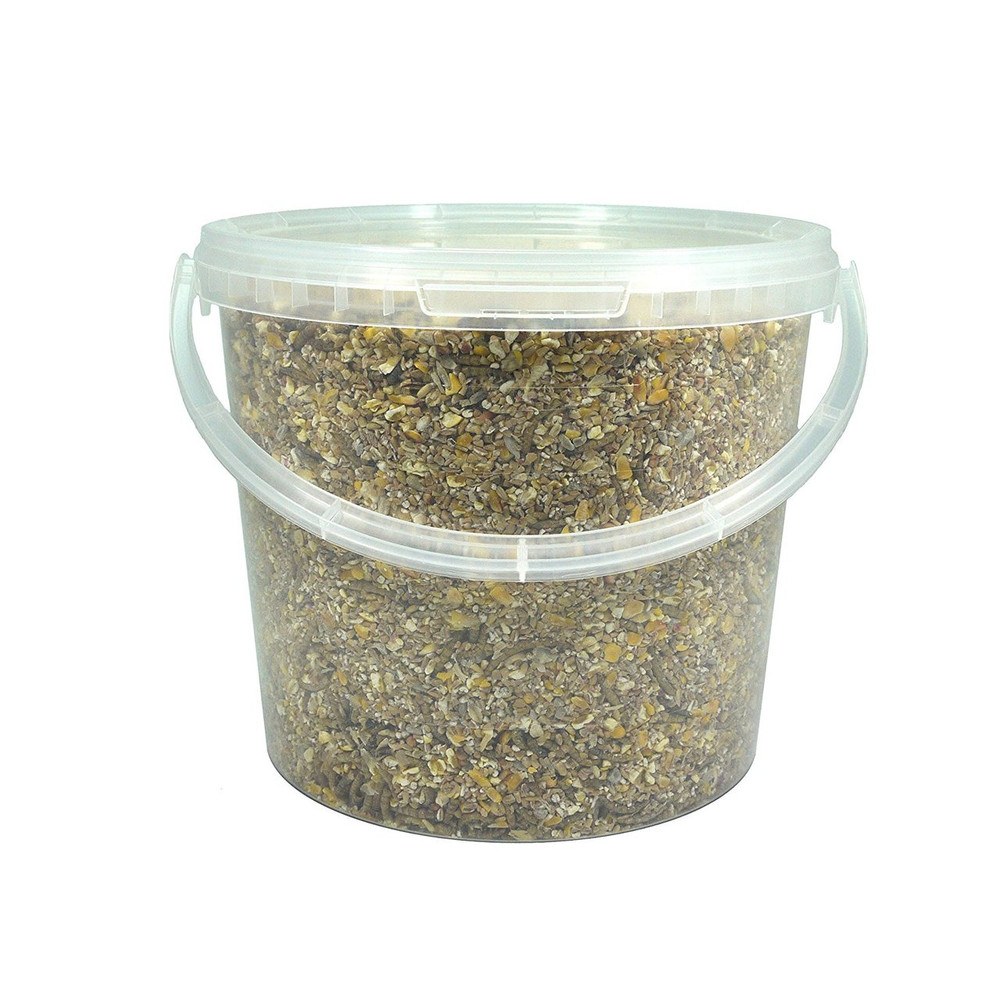 All in One No Mess wild bird seed with mealworms. 5 Litre Tub.