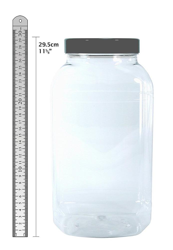 3 Large Storage Jars with black screw top lids