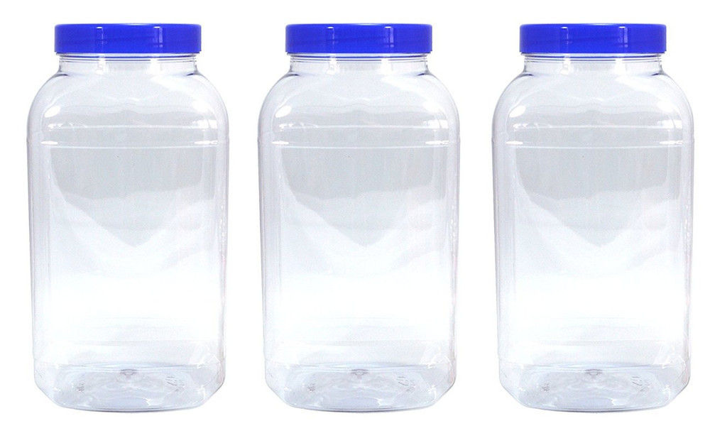 3 Large Storage Jars with blue screw top lids