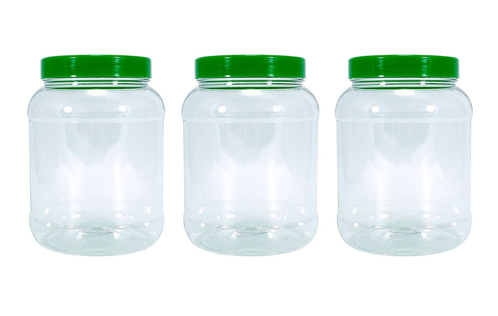 Three medium (2.5 litres) food grade plastic kitchen storage jars with green lids