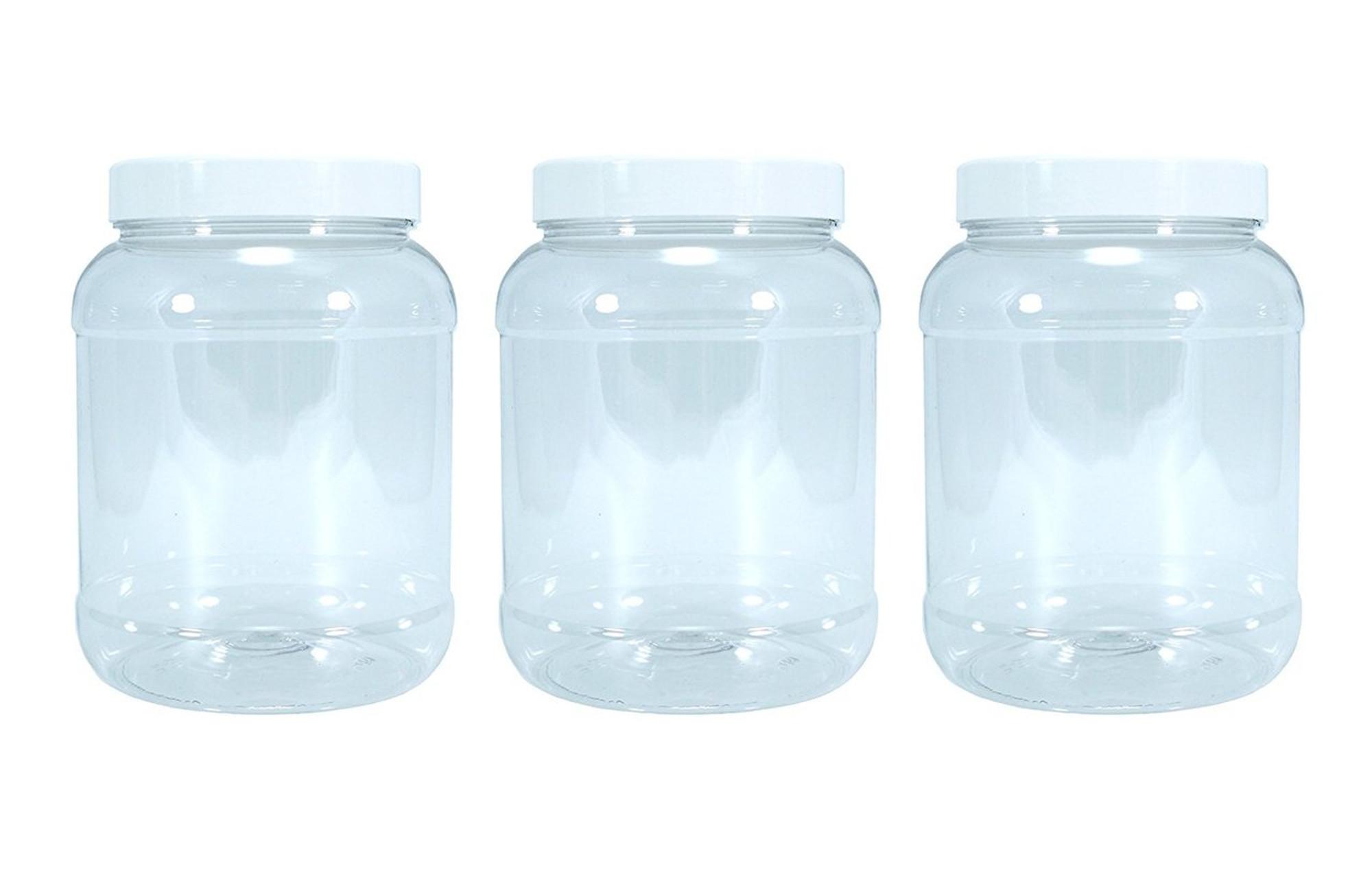 Three medium (2.5 litres) food grade plastic kitchen storage jars with  white lids.