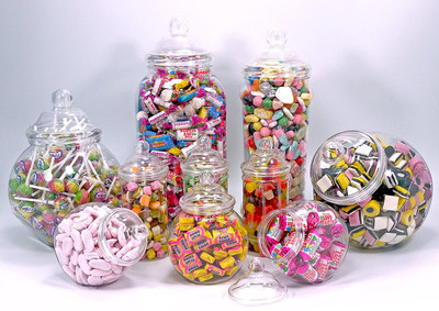 PLASTIC JAR PARTY PACK OF 10 Assorted empty jars with Victorian style lids.