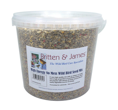 High Energy No Mess Wild Bird seed mix with added Suet. 5 Litre Tub