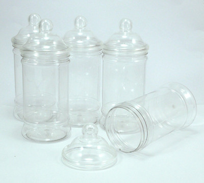 500Ml Small plastic jars with Victorian lids - pack of 5.