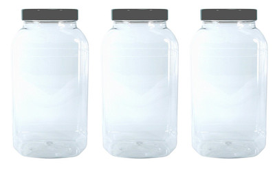 3 Large Storage Jars with black screw top lids