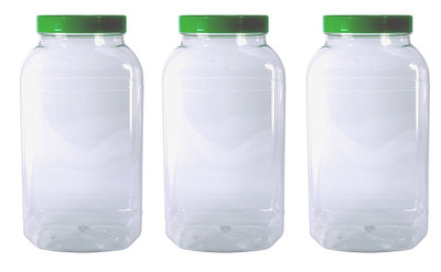 3 Large Storage Jars with green screw top lids