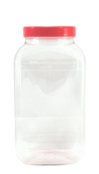 10 x Empty sweetshop style plastic jars with red screw lids