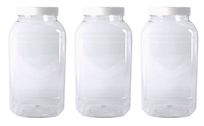 Set of 3 Large sweet shop style plastic jars with white screw top lids